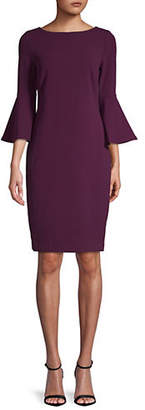 Calvin Klein Bell-Sleeve Scuba Sheath Dress