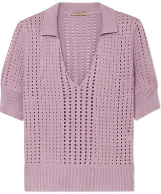 Pointelle-knit Silk Top - Lavender