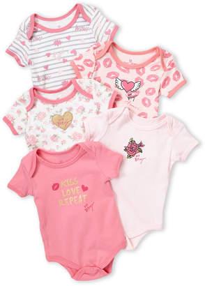 Betsey Johnson Newborn Girls) 5-Piece Kiss Love Repeat Bodysuit Set