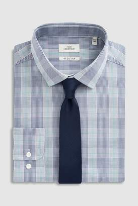 Mens Blue/White Check Regular Fit Shirt And Tie Set