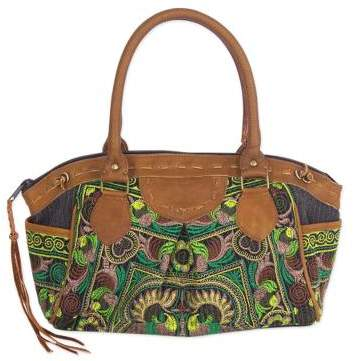 Mandarin Green Thai Hill Tribe Embroidered Leather Accent Handbag