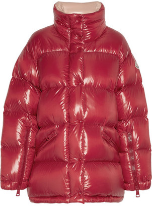 Moncler - Callis Quilted Glossed-shell Down Coat - Red $1,375 thestylecure.com