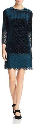 Badgley Mischka Studded-Velvet Lace-Trim Dress