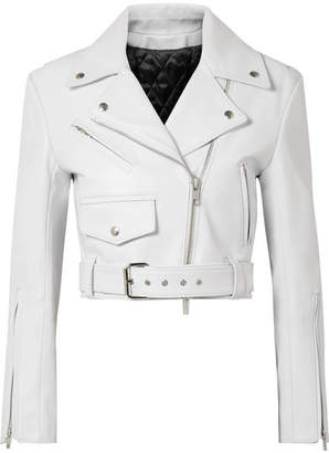 CALVIN KLEIN 205W39NYC - Cropped Leather Biker Jacket - White