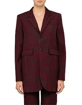 Balenciaga Wool Check Shaped Single Breasted Blazer