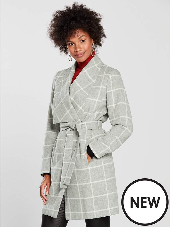 Check Wrap Belted Coat