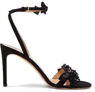 Embellished Suede Sandals - Black