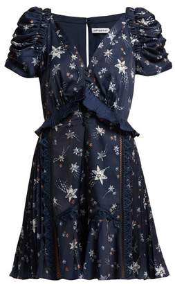 Self-Portrait Self Portrait Ruffled Star Print Satin Mini Dress - Womens - Navy