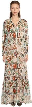 Alberta Ferretti Khadi Floral Print Silk Chiffon Dress
