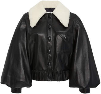 Rodarte Leather Balloon Sleeve Jacket