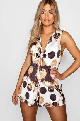 boohoo Plus Chain Print Tie Front Playsuit