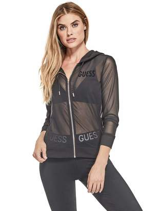 Factory Guess Women's Nina Sheer Mesh Zip Hoodie