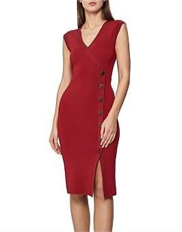 Reiss Eleni Bodycon Midi Button Knitted Dress