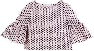 Milly Minis Polka-Dot Ruffle-Sleeve Cotton Blouse, Size 4-7