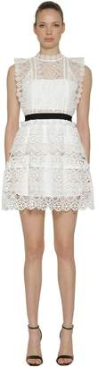 Self-Portrait Circle Floral Lace Tiered Mini Dress