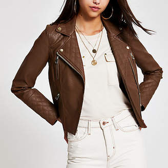 River Island Brown faux leather biker jacket