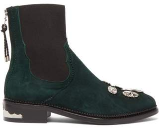 Toga Studded Suede Chelsea Boots - Womens - Dark Green