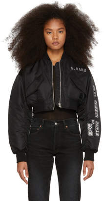 Alexander Wang Black Chrome Decal Bomber Jacket