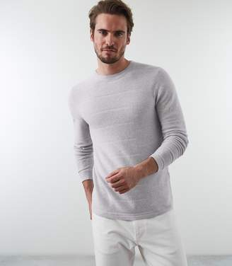 Reiss BOWMONT RIBBED CREW NECK JUMPER Soft Grey Melange