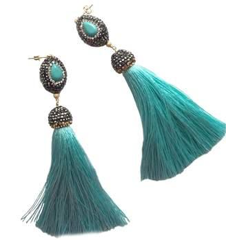 Farra - Rhinestone Tassel Earrings Sky Blue
