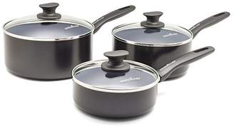 Green Pan Everyday Value 3 Piece Saucepan Set Black & Grey