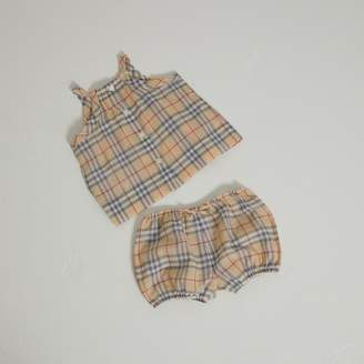 Burberry Check Cotton Two-piece Baby Gift Set , Size: 24M, Beige