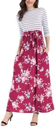 BIUBIU Women's Striped Floral 3/4 Sleeve Tie Waist Long Maxi Dress with Pockets S