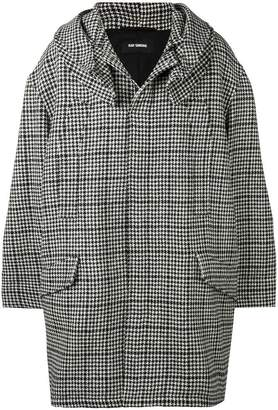 Raf Simons hooded houndstooth coat