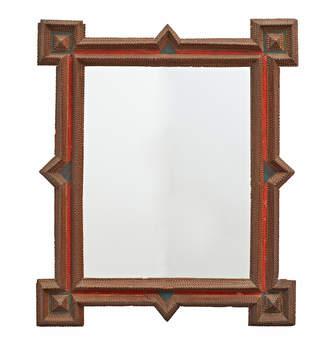 Rejuvenation Large Tramp Art Mirror w/ Velvet Accents