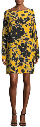 Michael Kors Bateau-Neck Tropical Floral-Print Silk Dress