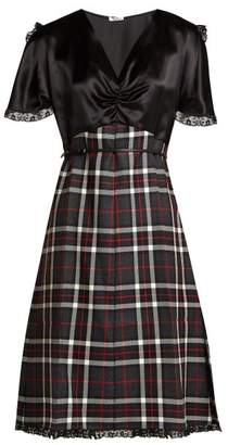 Miu Miu Satin And Tartan Wool Dress - Womens - Multi
