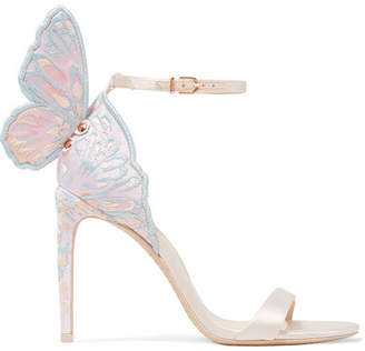Sophia Webster Chiara Embroidered Satin Sandals - Ivory
