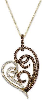 LeVian Le Vian Chocolatier Diamond Heart Pendant Necklace (1-1/3 ct. t.w.) in 14k Gold