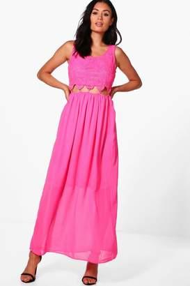 boohoo Crochet Lace Cut Out Waist Maxi Dress