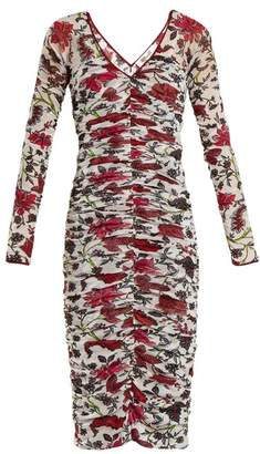 Diane von Furstenberg Canton Print Ruched Mesh Dress - Womens - White Print