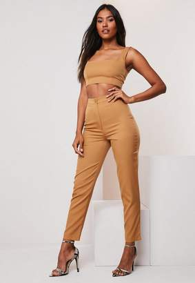 Missguided Camel Co Ord Basic Cigarette Pants