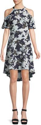Julia Jordan Cold-Shoulder Floral-Print Shift Dress