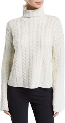 Theory Horseshoe Cable Turtleneck Bell-Sleeve Sweater