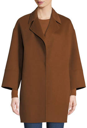 Neiman Marcus Luxury Double-Faced Notch-Collar Cashmere Topper