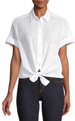 Lord & Taylor Textured Cotton Button-Down Tie-Front Shirt
