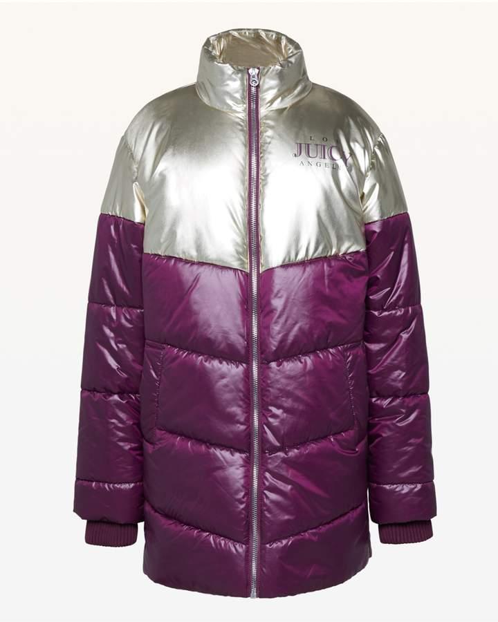 JXJC Metallic Colorblock Puffer Coat