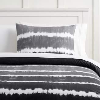 Pottery Barn Teen Tie Dye Stripe Organic Duvet Cover, Twin/Twin XL, Faded Black