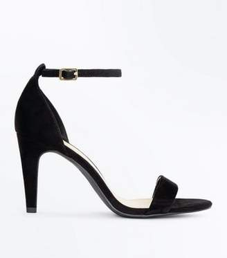New Look Wide Fit Black Suedette Ankle Strap Heels