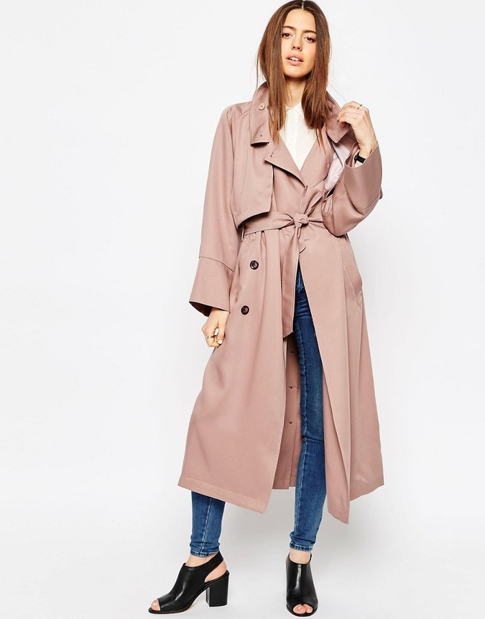 ASOS COLLECTION ASOS Trench in Waterfall Drape with Roll Back Sleeve