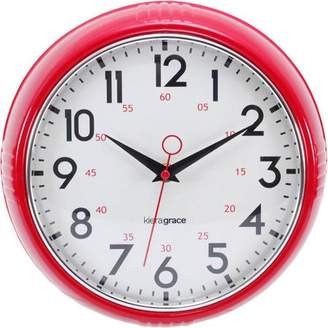 """Generic Retro 9.5"""" Wall Clock with Chrome Bezel and Convex Glass Lens, 2.5"""" Deep"""