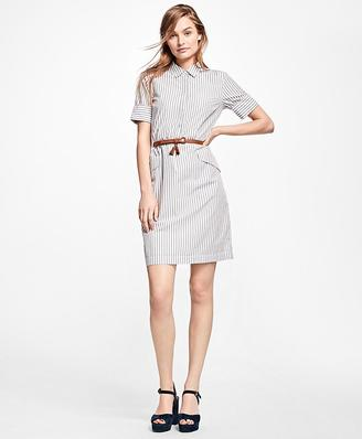 Striped Cotton Shirt Dress $78 thestylecure.com