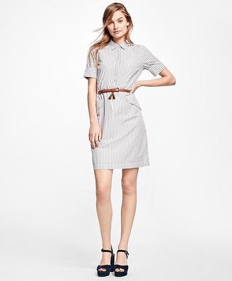 Striped Cotton Shirt Dress $78 thestylecure.com