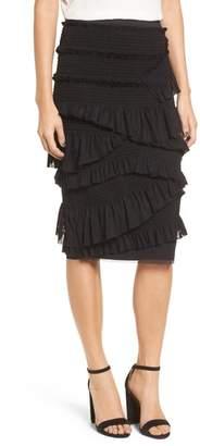 Chelsea28 Mesh & Smocked Ruffle Pencil Skirt