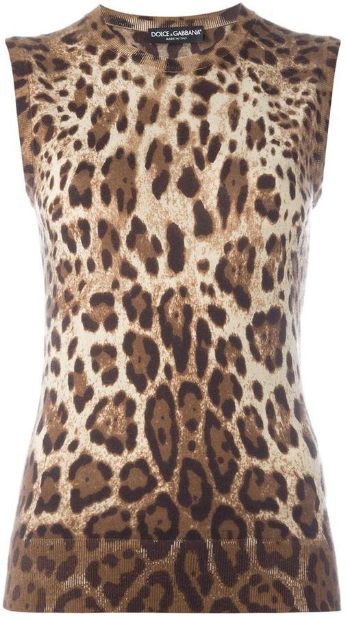 Dolce & GabbanaDolce & Gabbana leopard print tank top