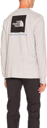 The North Face L/S Red Box Tee in TNF Light Grey Heather & TNF Black   FWRD